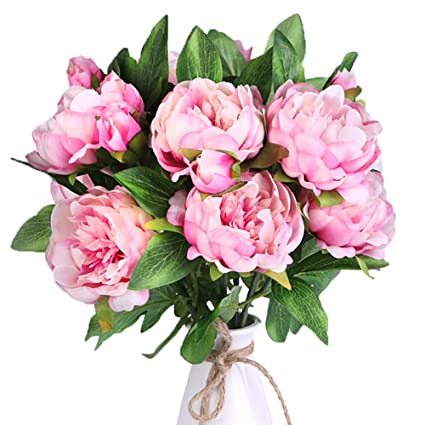 Amazon.com: Louiesya Artificial Flowers 3pcs of Fake Silk Peony ...