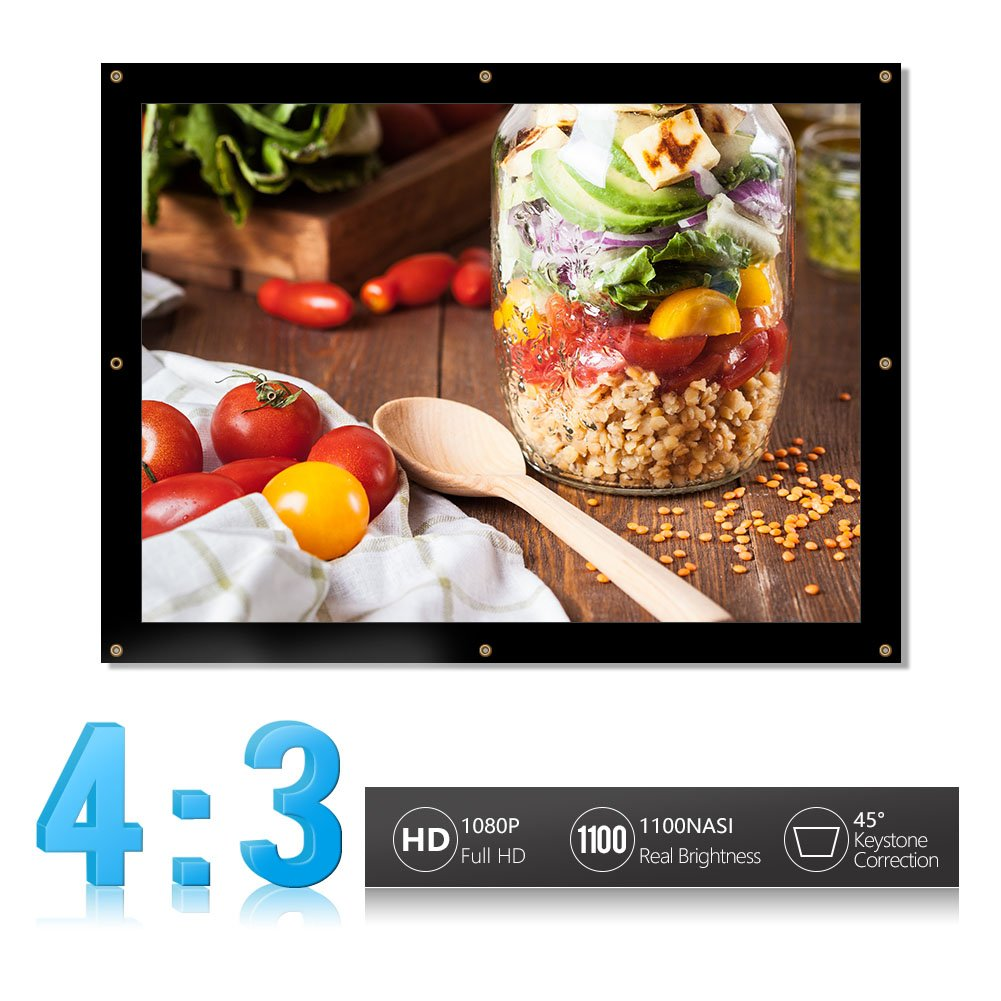 Portable Projector Screen,16:9/4:3 Foldable HD Projector Screen Home Theater Cinema Projection Screen With Eyelets for HDTV/Sports/Movies/Presentations ( Design : 16:9 , Size : 60-inch ) VGEBY