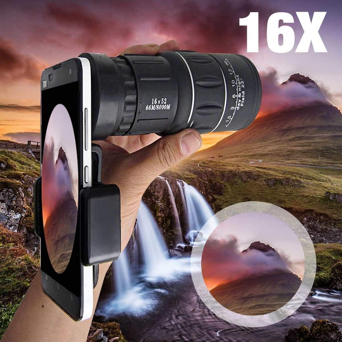 Kit de lente de teléfono, 16 x 52 Zoom Senderismo, smartphone monocular lente cámara HD, alcance caza + soporte de teléfono para iPhone 5, 7 y 8 Plus X para Huawei: Amazon.es: Electrónica