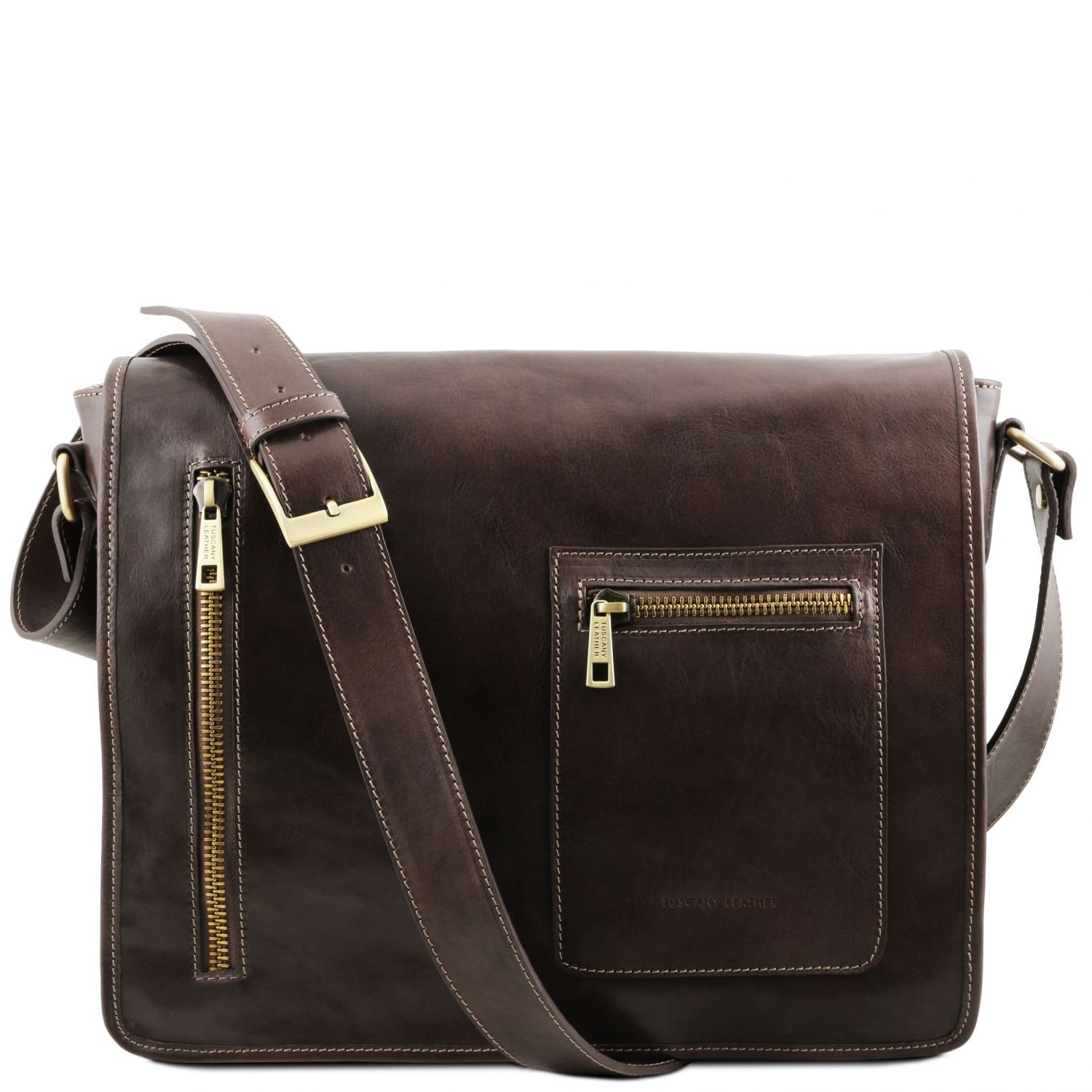 Tuscany Leather TL Messenger Leather double compartment laptop shoulder bag Dark Brown