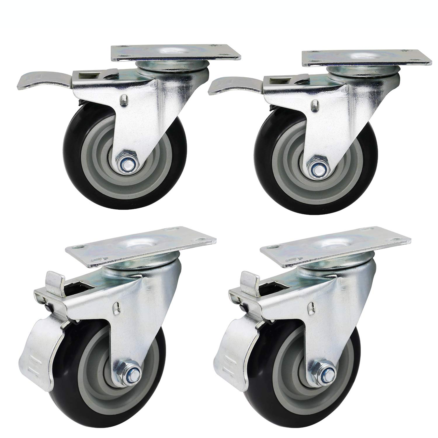 Dr.Luck 4 Inch Black PU Rubber Swivel with Brake Heavy Duty Caster Wheel Double Ball Bearing 360 Degree Top Plate Total Load Capacity 1200 Lbs - 300 Lbs per Caster, Set of 4