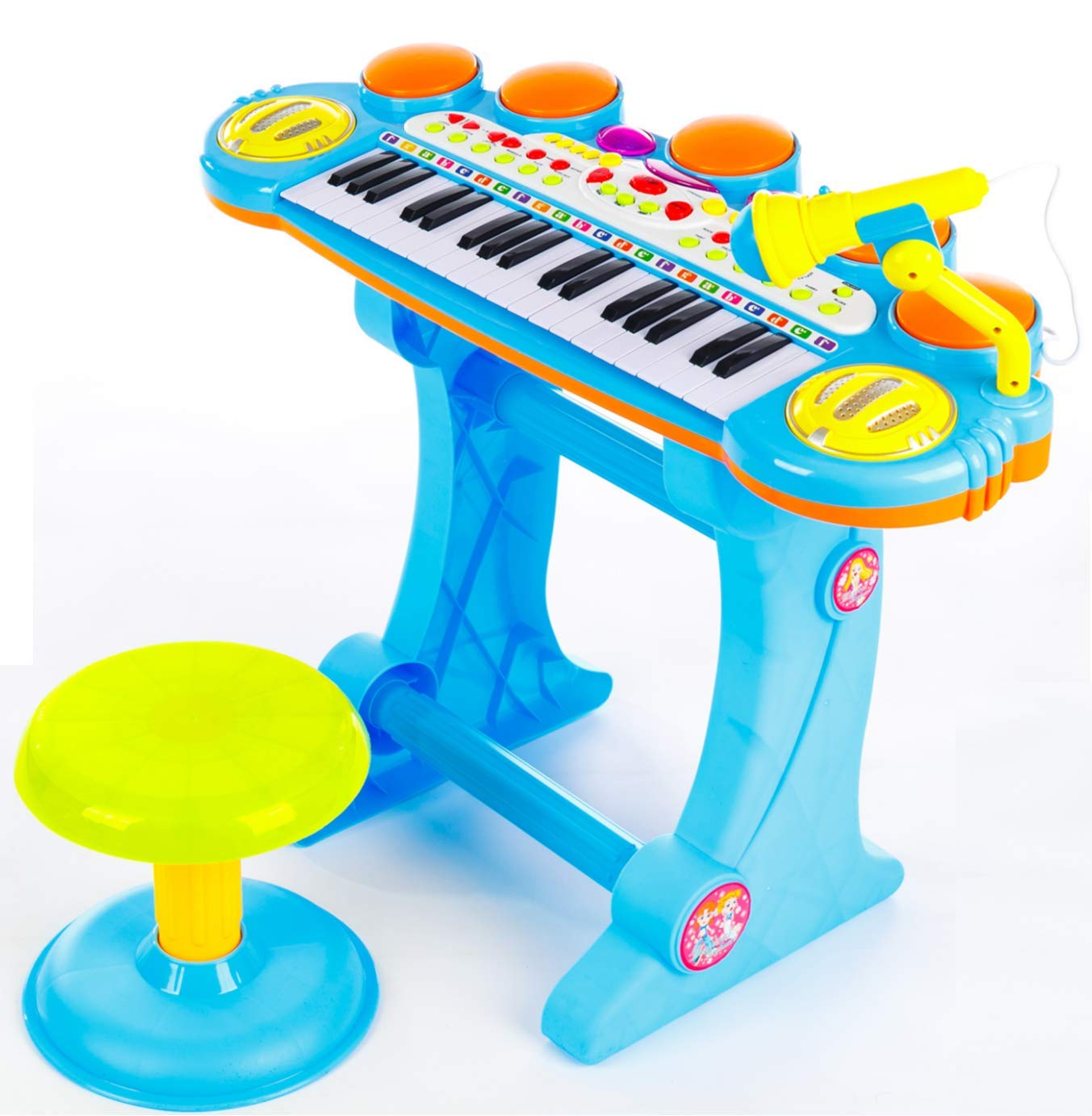 O.B Toys&Gift Musical Instrument Piano Toy 37-Key Kids Electronic Keyboard Organ w/ Stool , Microphone , Record & Playback Custom - Electronic Piano Toy for Kids & Toddler (Blue) by O.B Toys&Gift