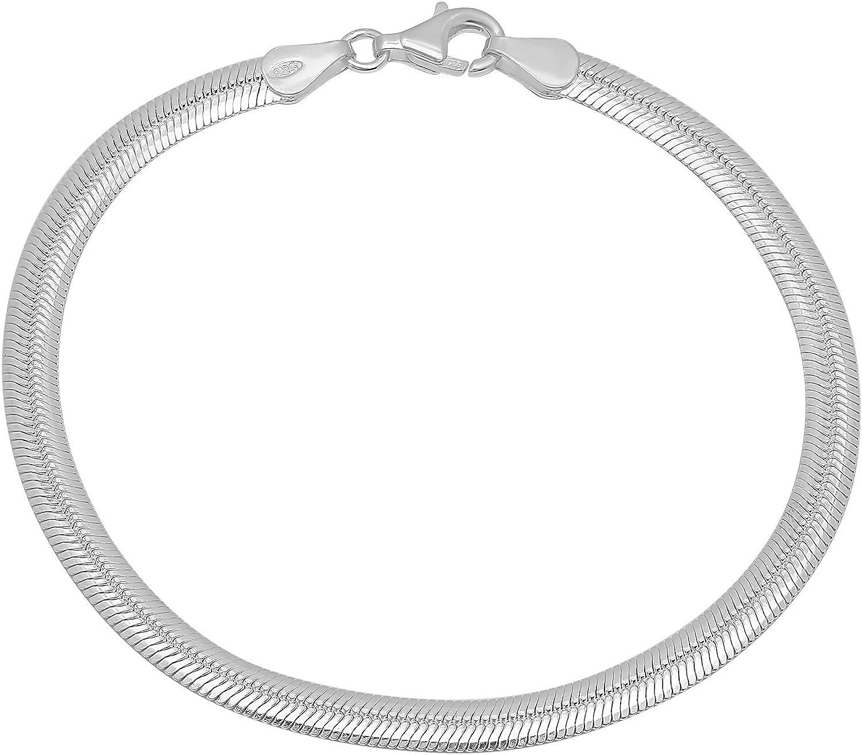 4.6mm High-Polished .925 Sterling Silver (Nickel Free) Flat Herringbone Chain Bracelet, 7'-11'