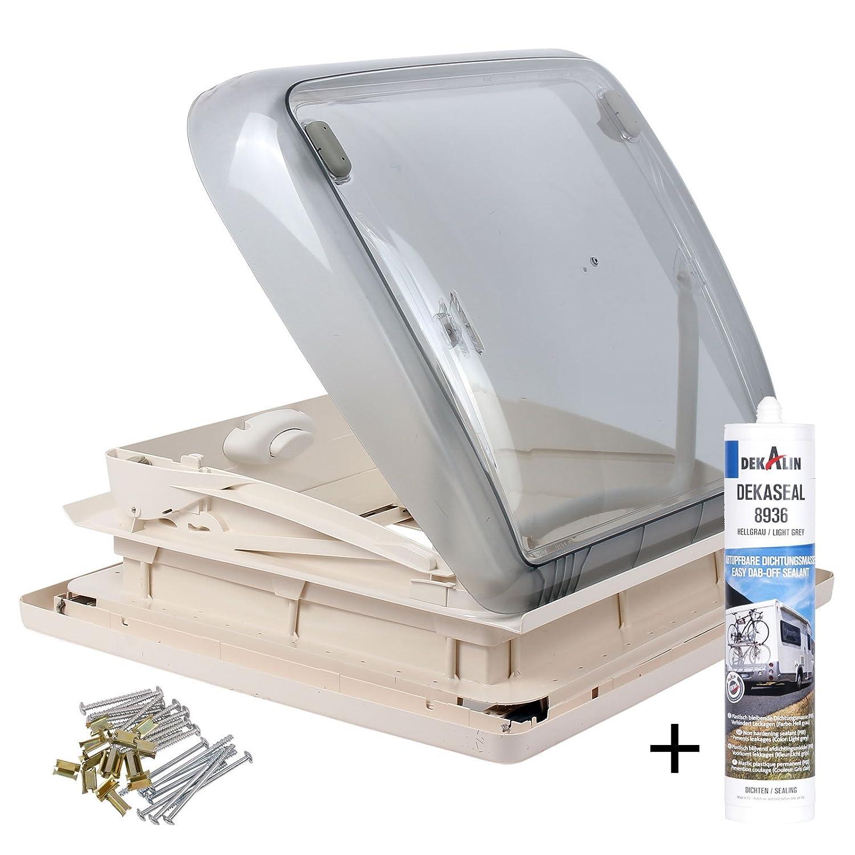 Dometic Mini Heki 40 x 40 Dachstä rke 43 - 60 mm Zwangsbelü ftung + Dekalin Dichmittel fü r Wohnwagen oder Wohnmobil Dometic - Dekalin