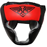 BOOM Prime Red Boxing Leather Head Guard Full Face Helmet MMA Headgear Sparring Martial Arts Training (FREE UK SHIPPING)