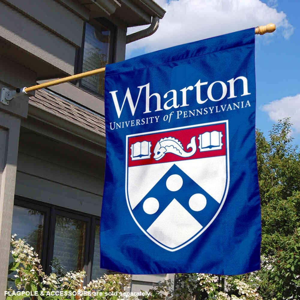College Flags and Banners Co Penn Quakers Wharton School 28 x 40 Two Sided House Flag
