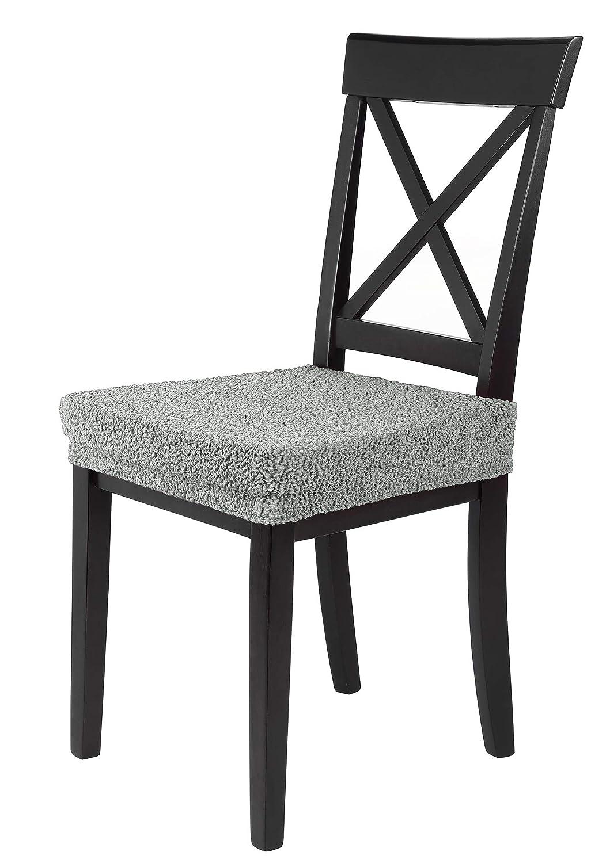 SCHEFFLER-Home Jacquard Lea 2 Fundas para Asiento de sillas, Estirable Cubiertas, Funda con Banda elástica, Gris-Plata