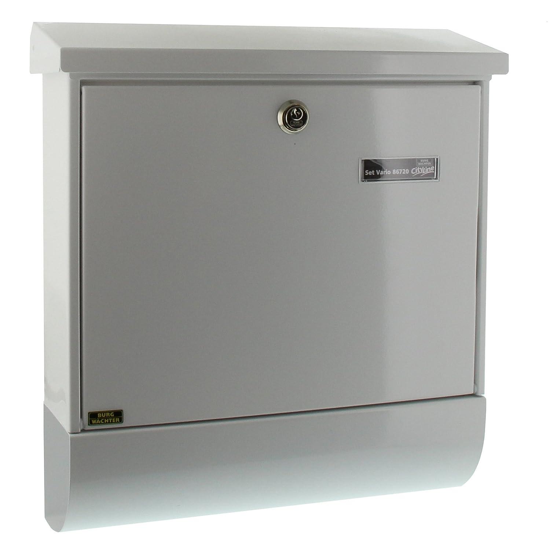 BURG-W/ÄCHTER Verzinkter Stahl Briefkasten-Set mit Zeitungsbox A4 Einwurf-Format Schwarz Set Vario S