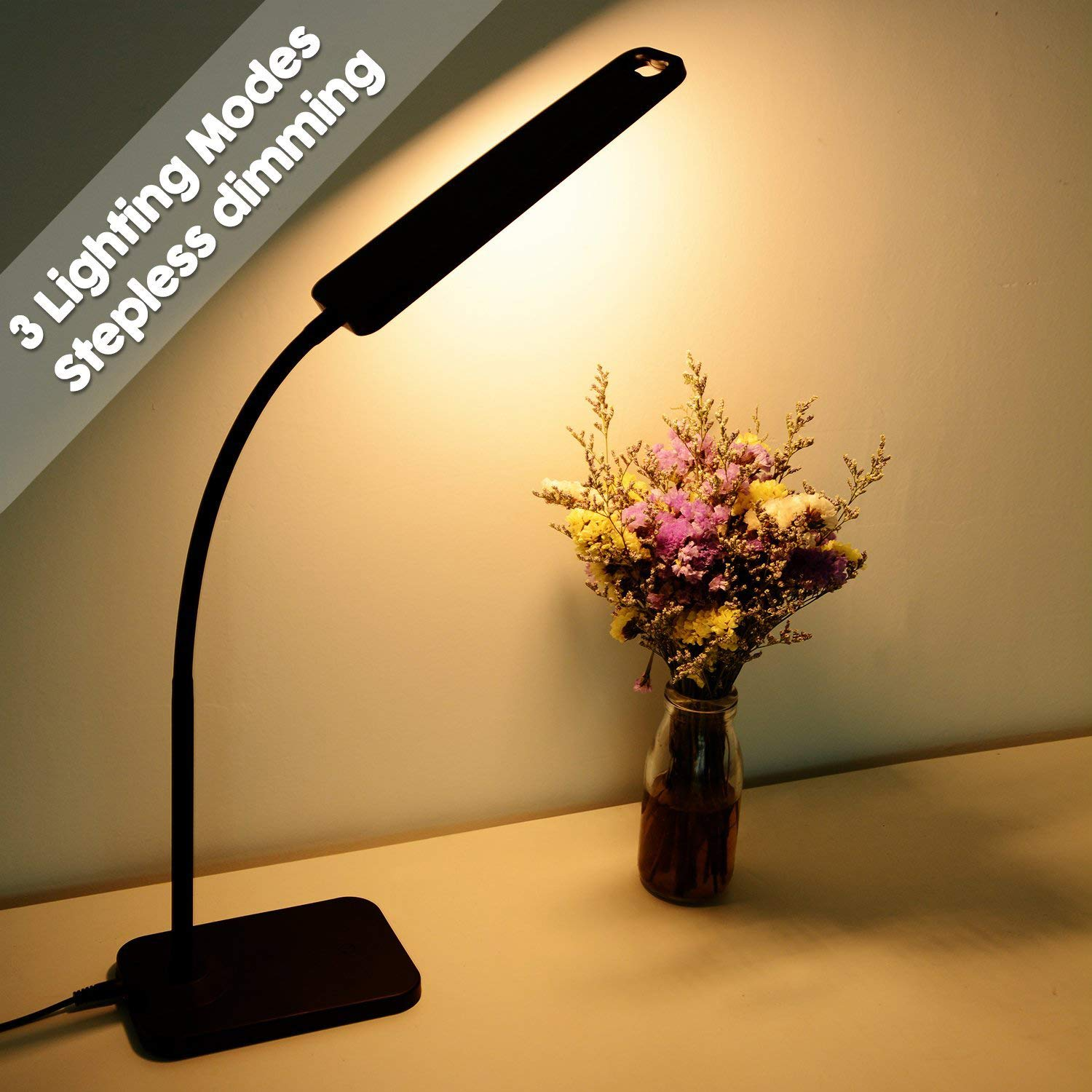 LED Desk Lamp with USB Charging Port, 1000lumen Stepless Dimming Table Lamp, Touch Control Book Light with Flexible Hose Neck