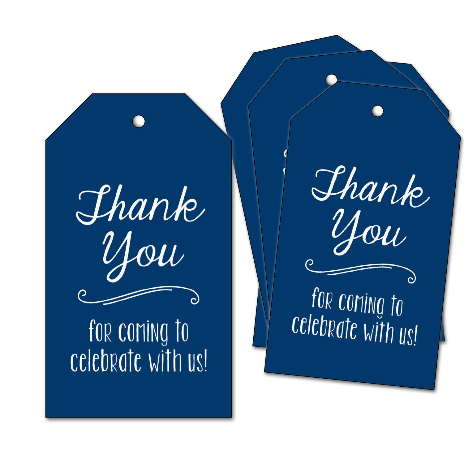 25 Thank You Favor Tags - for Wedding, Bridal Shower, Nautical Baby Shower, Birthday Party Supplies - Navy, Dark Blue