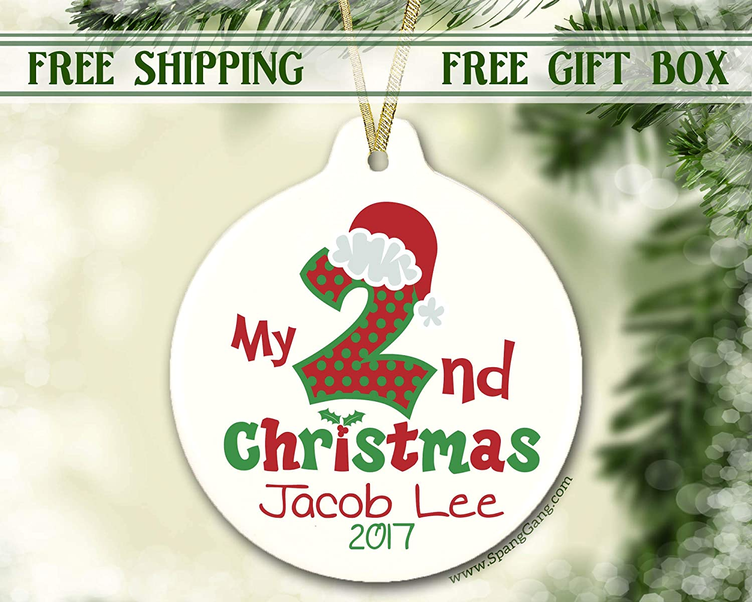 Personalized Christmas Ornament, Second Christmas, 1st Christmas