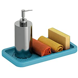Silicone Sink Tray Organizer – Sink Mat Organizer for your Soap, Sponge, Scrubber & More – Multi-use Silicone Tray - Non-Slip, Heat Resistant and Dishwasher Safe – Red, Blue or Grey Dish Sponge