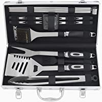 POLIGO 19pcs Stainless Steel BBQ Tools Set - Premium Barbecue Accessories for Camping - Complete Outdoor Barbecue Grilling Utensils in Aluminum Case - Ideal Father's Day Birthday Gifts for Dad Men