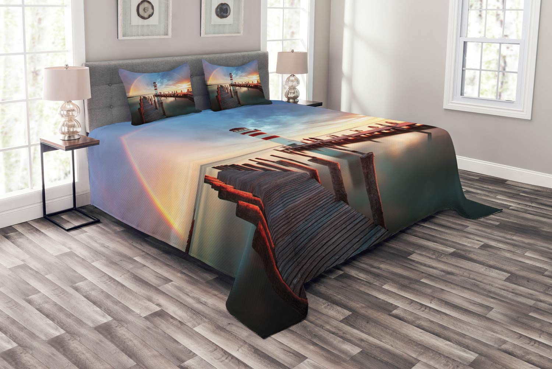 Abakuhaus Leuchtturm Tagesdecke Set, Wolken Sonnenuntergang am Meer, Set mit Kissenbezügen luftdurchlässig, für Doppelbetten 264 x 220 cm, Orange Grün Blau