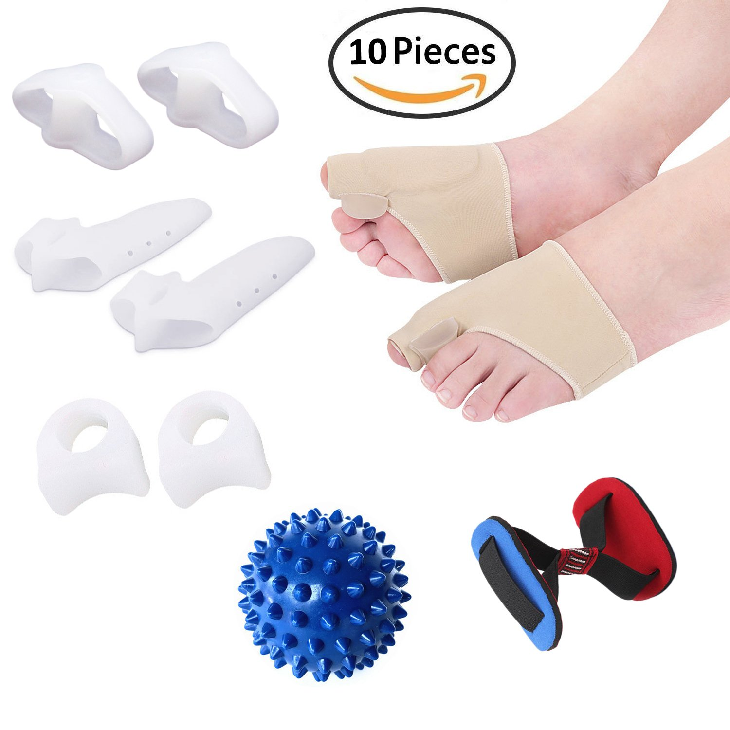 Bunion Corrector Sleeves Kit Protector Soft Gel Pads Toe Splint Separators Spacers Straightener Foot Massage Ball Pull Strap