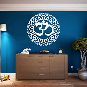 "Metal Wall Art, Metal Om Decor, Yoga Gifts, Aum Symbol, OM Wall Art, Yoga Studio Decor, Yoga Wall Decor, Metal Mandala Wall Art (White, 24""W x 24""H / 60x60 cm)"