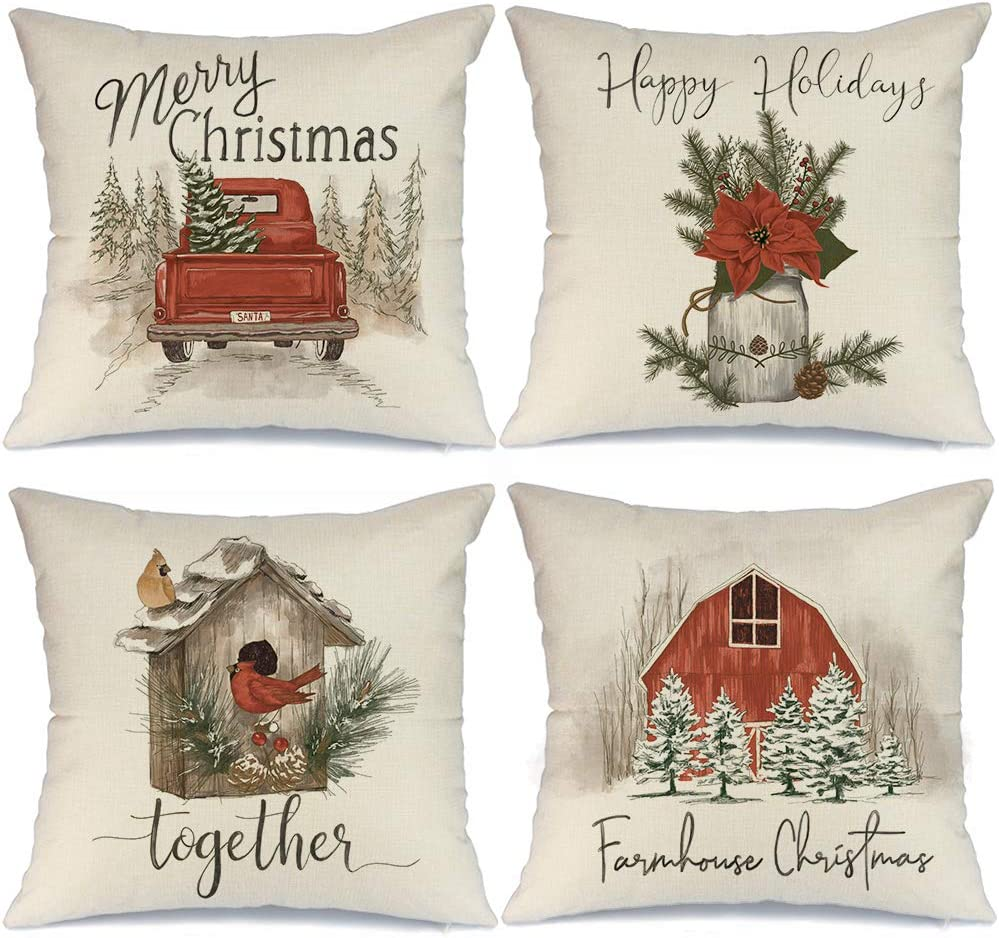 AENEY Christmas Pillow Covers 20x20 Set of 4, Red Barn Truck Bird Rustic Winter Holiday Throw Pillows Farmhouse Christmas Decor for Home, Xmas Decorations Cushion Cases for Couch A307-20
