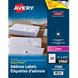 """Avery Address Labels with Easy Peel for Laser Printers, 1"""" x 2-5/8"""", White, Rectangle, 7500 Labels, Permanent (5960) Made in"""