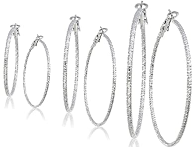 Silver And Gold Plate Hoop Earrings Set For Women Teen Jewelry Diamond Cut  3 Pairs Gold 385dbe2c691c