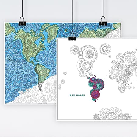Maps International World Map Adults Coloring Print Pack ...