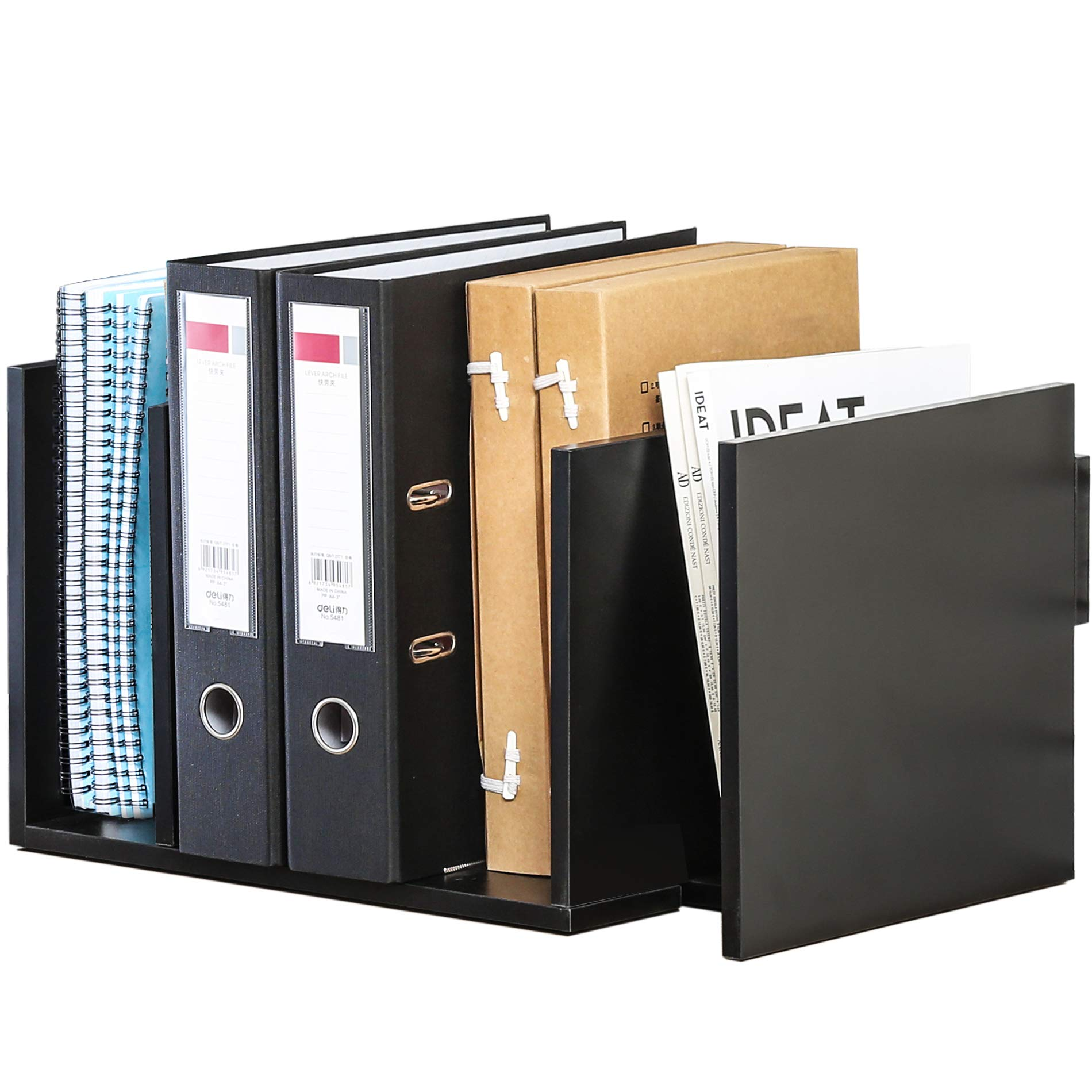 FITUEYES Extension Book Rack Desk Bookshelf Organiser for Office Home Expandable Tidy Desktop Storage Organizer Display Shelf Rack Counter Top Bookcase DT107701WB