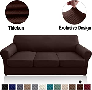 Granbest 4 Piece High Stretch Couch Covers for 3 Cushion Couch Thick Premium Sofa Slipcover Fitted Sofa Cover Furniture Protector for 3 Seat Sofas Dog Pet Proof Machine Washable (Large, Chocolate)