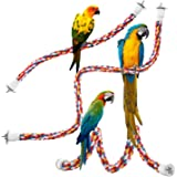 Jusney Bird Rope Perches,Parrot Toys 33 inches Rope Bungee Bird Toy