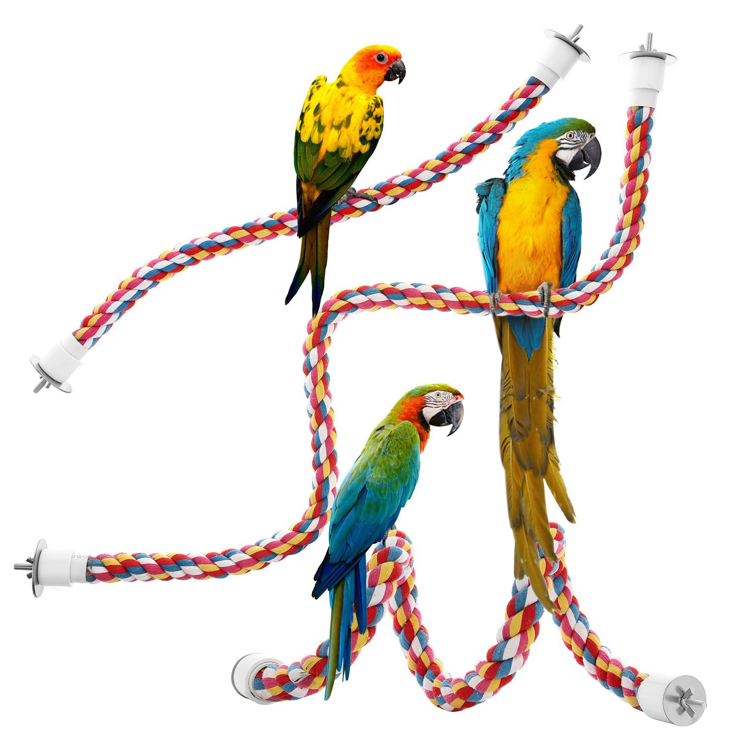 Jusney Bird Rope Perches, Comfy Perch Parrot Toys Rope Bungee Bird Toy JF-0795