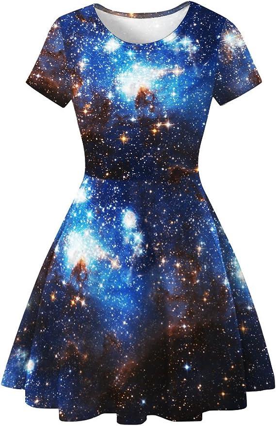 Vestido Corto Elegantes Moda Falda Plisada Verano Galaxia Mujer ...