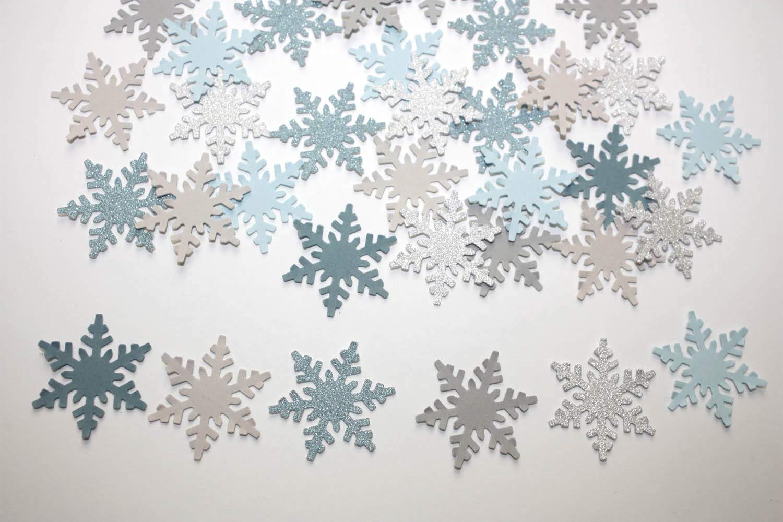 Amazon Com Gray Blue Silver Glitter Snowflake Confetti Winter