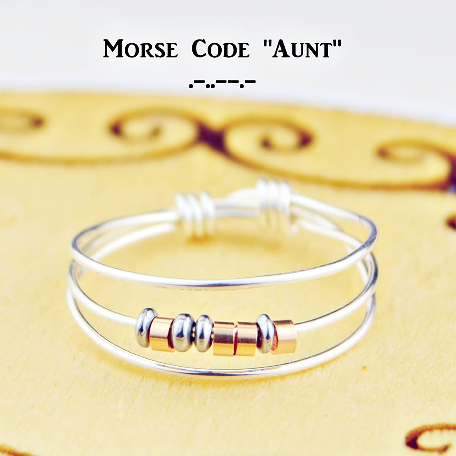 7 9,10,11,12,13,14 Rose 5 6 Morse Code Aunt Ring- Your Choice of Color Beads and Silver 8 or Yellow Gold Filled Wire- Any Size-4
