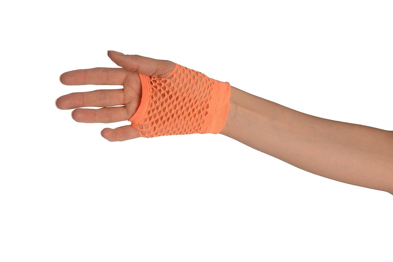 Neon Orange Fishnet Fingerless Party Gloves Orange Gloves
