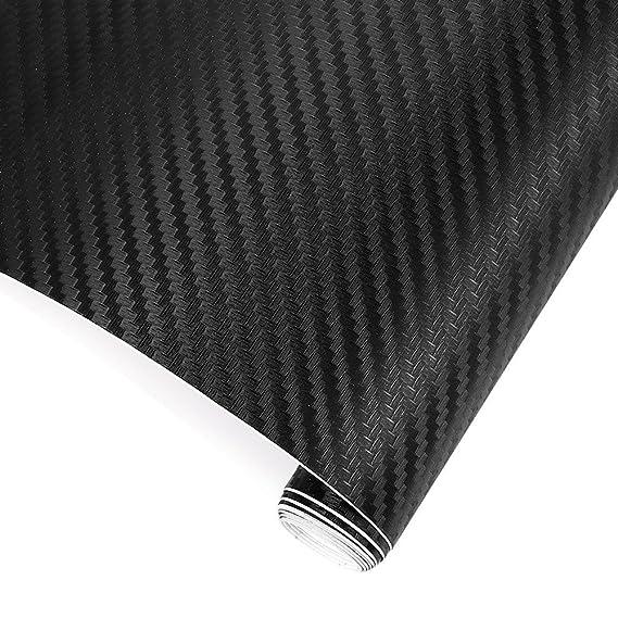 2 Rollos Pegatinas Coche Fibra de Carbono 3D-Adhesivos Firmes/152*30CM/Soporta el Agua/Fácil Colocación-Vinilo Carbono Coche Moto PC Móvil