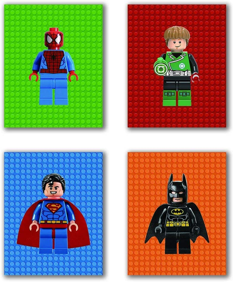 "Cartoon Spiderman Superman Batman Art Prints Set of 4 (8""X10"" Canvas Picture) Used for Nursery Baby Room Bathrooma Hang Prints Friends Birthday Gift Boys and Girls Room Decor wall Art poster Frameless"