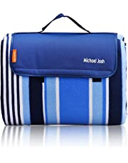 Michael Josh XXL-Large Outdoor Picnic Blankets,Waterproof Backing 200 x 200cm Oversized Soft Fleece Material Camping Tote Mat