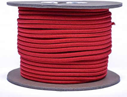 Stretch Cord 1//8 inch x 100 feet Several Colors Bungee 1//8 Shock Cord BORED PARACORD Marine Grade Shock Made in USA