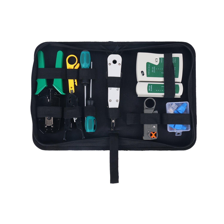 YaeTek Network Tool Kits - Net Computer Maintenance Phone LAN Cable Tester 13 in 1 Repair Tools-8P8C 4P4C 6P6C RJ45 RJ11 Connectors, Cable Tester, Screwdriver, Crimp Pliers, Wire Stripper Tool Set