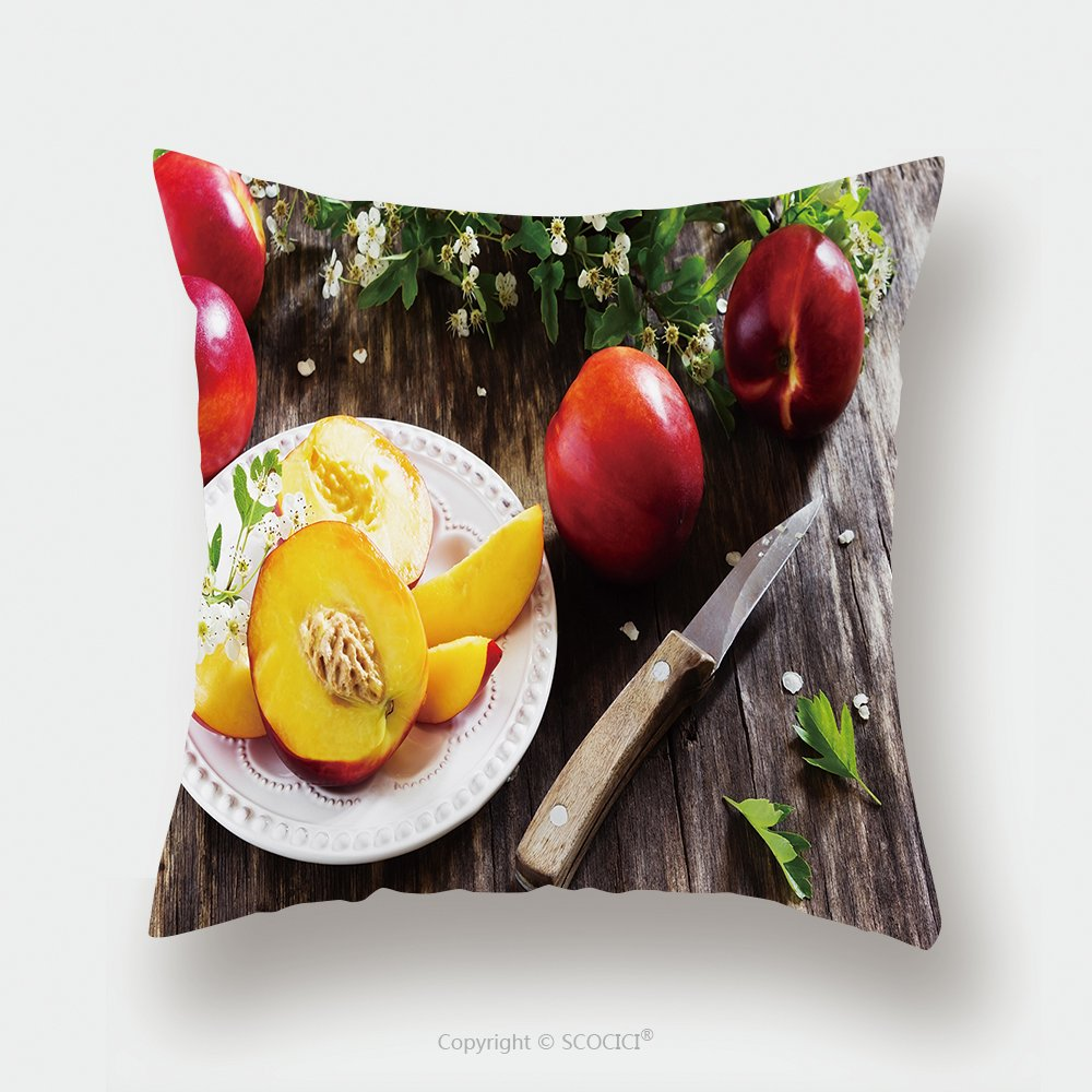 Custom Satin Pillowcase Protector Ripe Juicy Nectarines In A Plate On The Old Wooden Background Health And Diet Concept 360097382 Pillow Case Covers Decorative