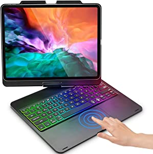 Keyboard Case for iPad Pro 12.9 2020 & 2018 with Touchpad, Touch iPad Case with Keyboard for iPad Pro 12.9 inch 3rd/4th Generation, Stylus Holder & Rainbow Backlits & 360 Screen Rotation - Black
