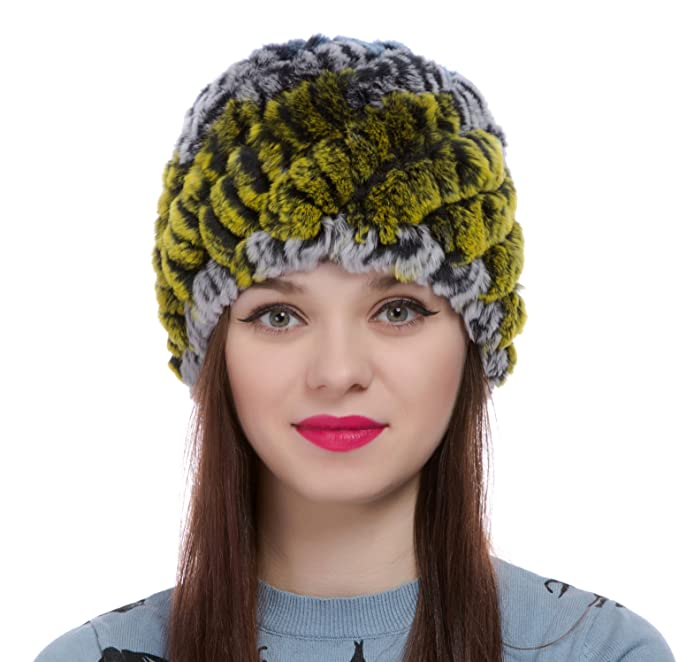 ae9ff53a6afb00 ZUUC Women's Real Rex Rabbit Fur Knitted Beanie Winter Warm Hats Caps  (Green + Blue