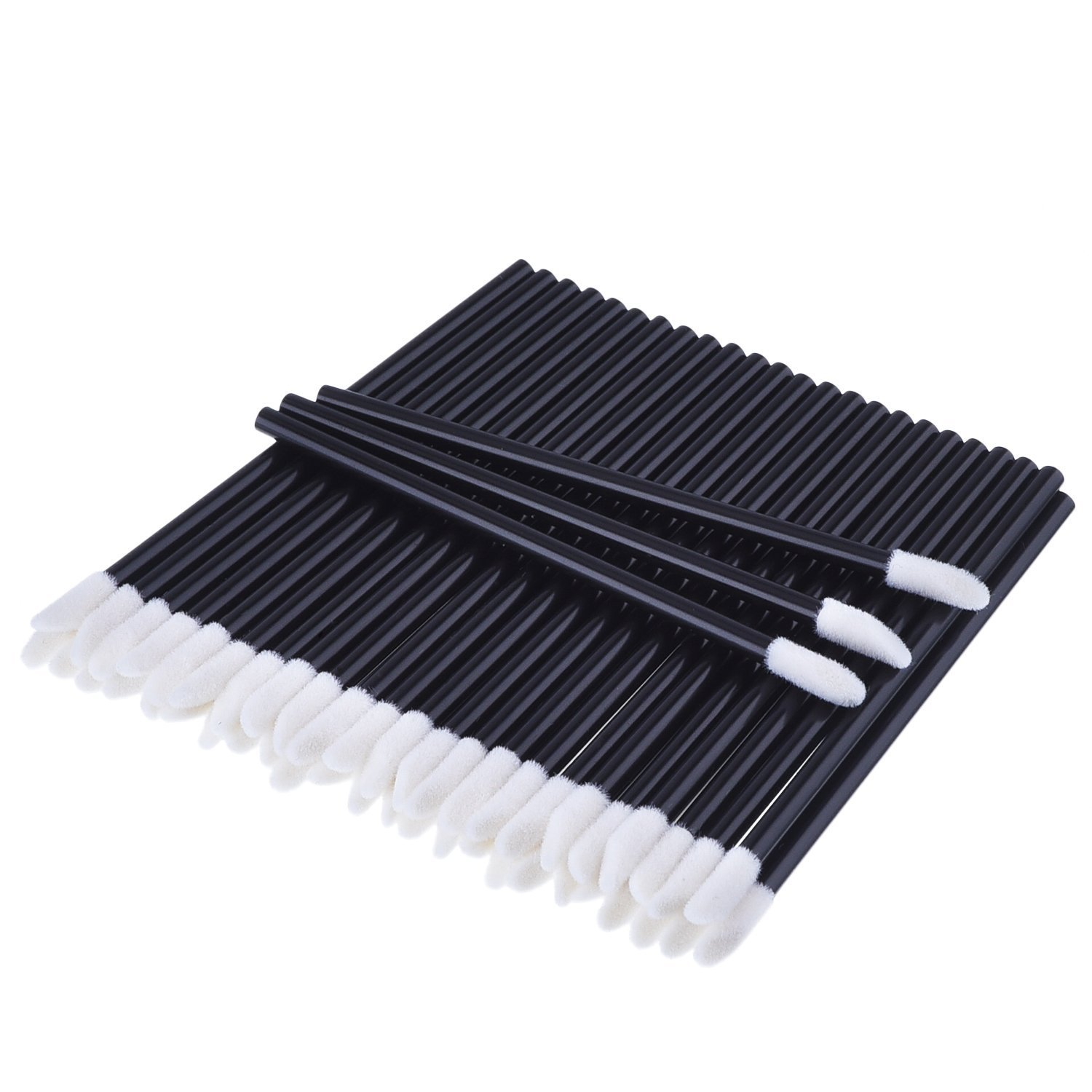 M-Aimee 300 Pack Disposable Lip Brushes Lipstick Gloss Wands Applicator Makeup Tool Kits, Black Lip-300-black
