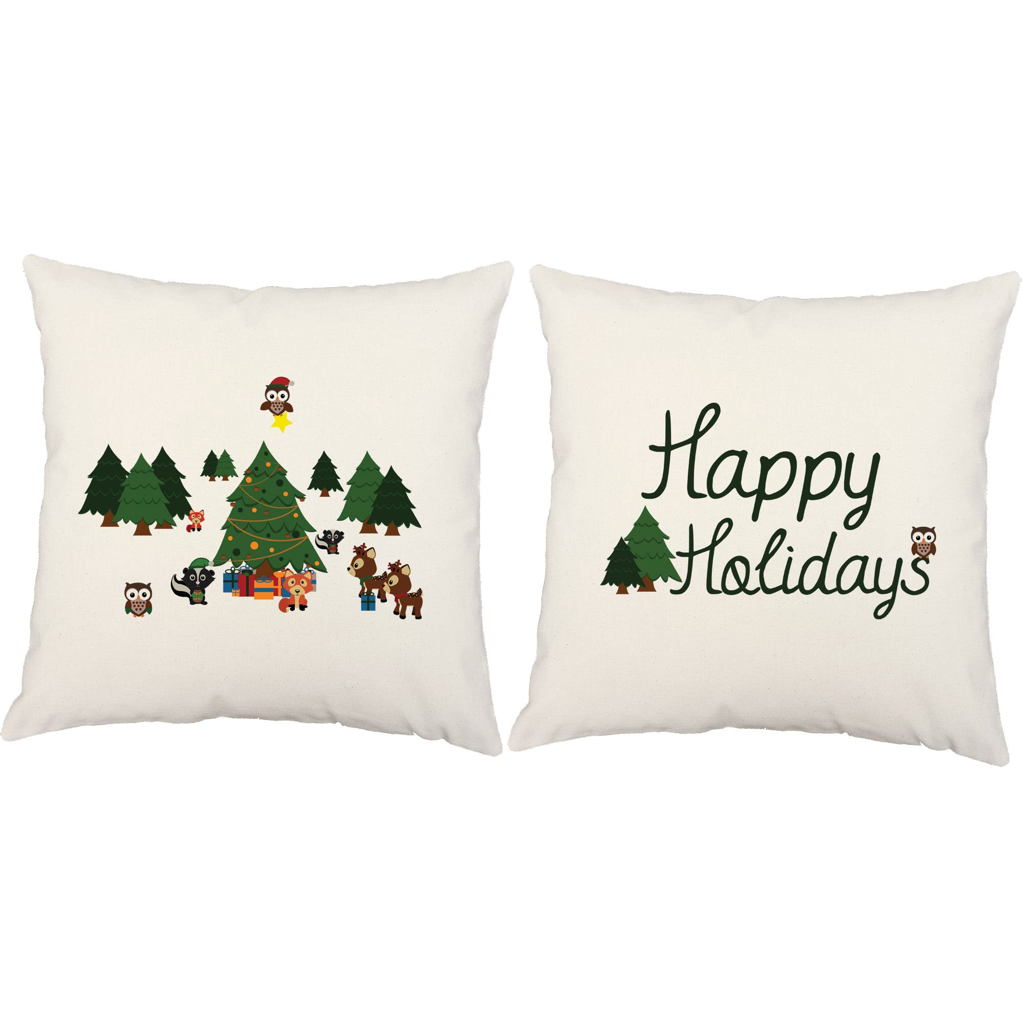 Set of 2 RoomCraft Winter Wonderland Animals Throw Pillows 20x20 Inch Square White Outdoor Holiday Cushions