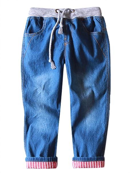 dbc500bc599 Aivtalk Boys Denim Jeans Drawstring Striped Rolled Cuff Denim Pants 2-8  Years  Amazon.ca  Clothing   Accessories