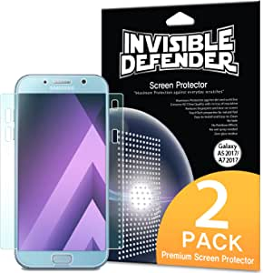 Ringke Screen Protector Compatible with Galaxy A7 2017 - Invisible Defender Full Coverage (2-Pack) Edge to Edge Curved Side Coverage Guaranteed Case Compatible Super Thin HD Clearness Film