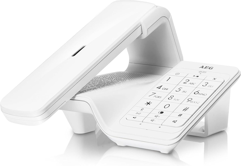 AEG Lloyd Combo 15 - Teléfono inalámbrico Design DECT con contestador, Manos Libres y función de bloqueos de Llamadas, Color Blanco