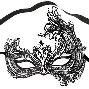 Prom//Ball UK Venetian Black Metal Mask Filigree Masquerade Blue Diamante Ball
