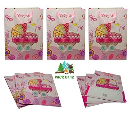 Buy Amfin Pack Of 12 Baby Girl Paper Bags For Baby Shower