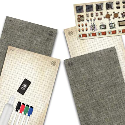 Battle Grid Game Mat Set Dry Erase Double Sided RPG Tabletop Gaming Accessories