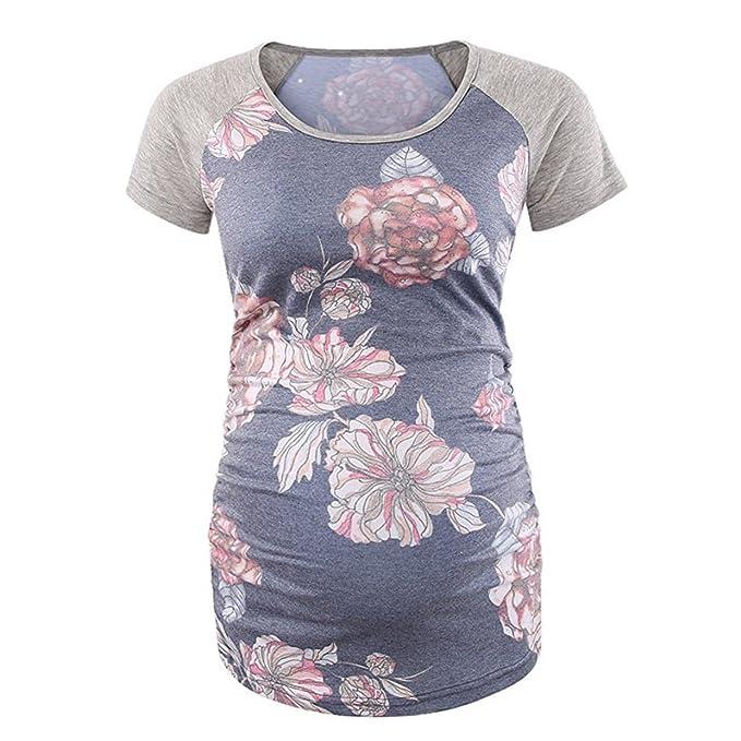 Camisetas Manga Cortae para Mujer❤️EUZeo❤️Casual Floral Estampado Elegante Moda Blusa Mujer Embarazadas Camisas Algodón Ropa Mujer Fiesta Tops T-Shirt: ...