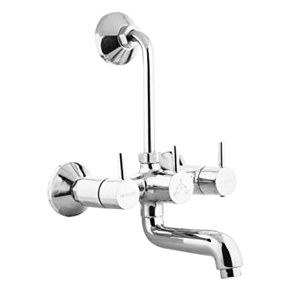 Hindware F280018CP Wall Mixer with Provision for Overhead Shower with 115mm Long Bend Pipe (Flora) with Chrome Finish